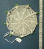milk jug cover : white crochet, green beads