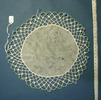 milk jug cover : net with crochet edging, blue and...