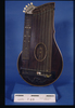 zither, dark wood body with gold striping, thirty-...