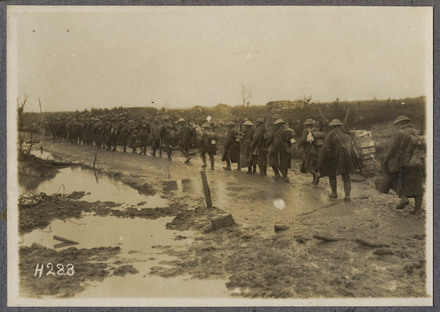 N.Z. Reinforcements on the way up to the line. Road near Kansas Farm.
