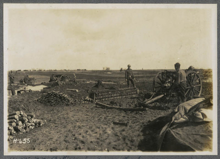 N.Z. Batteries firing on the Somme - and every shell killing Germans who were concentrating for an attack.
