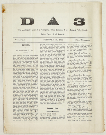 The D3 : the unofficial squeal of D Company 3rd Battalion N.Z.R.B.