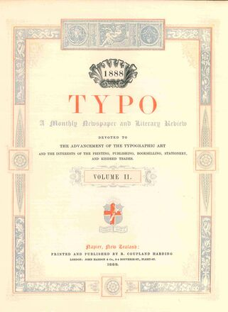 Typo : a monthly newspaper and literary review devoted to the advancement of the typographic art and the  interests of the printing, publishing, bookselling, stationery, and kindred trades