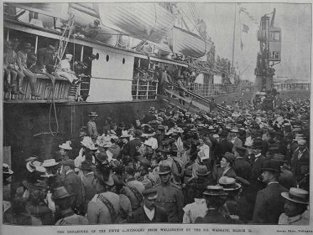 the departure of the 5th New Zealand Contingent for South Africa from Wellington on the S S Waimate, 31 March, 1900
