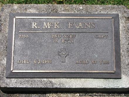 Grave of Robert McKenzie EVANS Waikaraka Cemetery, Auckland, New Zealand Photographed 8 February 2011
