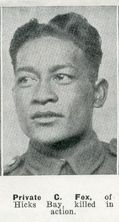 Private C. Fox, of Hicks Bay, Killed in Action