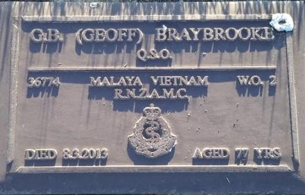 #36447 WO2 Geoffrey Bernard (Geoff) BRAYBROOKE-QSO RNZAMC [MV¹57/59(RAP),WO2-NZSMT] - 8Mar2013(4Apr35)..aged 77 - Levin Cemetery, Block; RSA, Plot; 433.