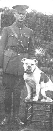 Full length photograph of Frederick Thomas BOULD 1875-1949, with his bulldog.