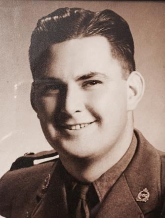 Photo taken on his return from the war - he came home an amputee
