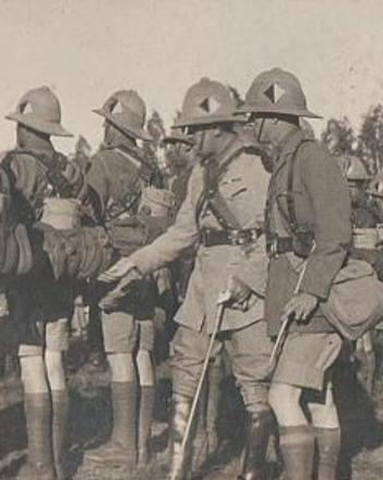 Lt Col Freeth inspecting men of 7th South African Infantry the unit he commanded in East Africa during the First World War