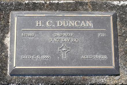 Military memorial at Buffalo Cemetery, Coromandel, New Zealand.