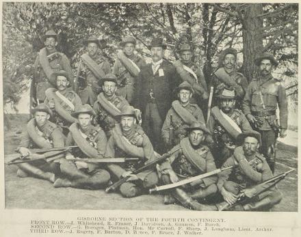 J. Whitehead, R. Fraser, J Davidson, A. Gannon. F. Burch. SECOND ROW.—G. Bougen, Platman, Hon. Mr Carroll, F. Sharp, J. Langham, Lieut. Arthur. THIRD ROW.—J. Rogers, F. Barton, D. Bruce, F. Bruce, J. Walker.