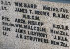 This panel is part of the base of the Memorial. Lt STRUTHERS and Rifleman William MALCOLM (see also) are shown on the panel. - No known copyright restrictions.
