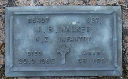 2nd NZEF, 69497 Sgt J B WALKER, NZ Infantry, died 20 September 1965 aged 58 years.