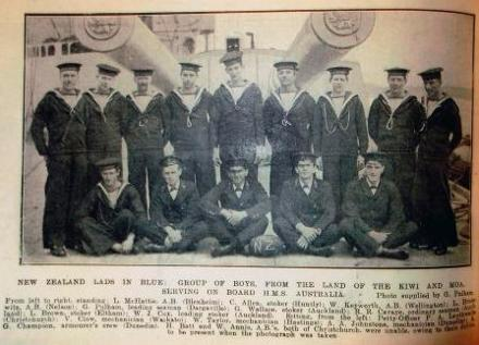 Full caption reads: 'New Zealand Lads in Blue: Group of boys from the land of the Kiwi and Moa serving on board HMS [sic] Australia'.