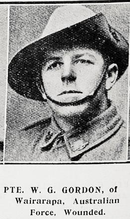 Private W.G. Gordon - born Wairarapa, New Zealand. Served Australian Forces (AIF).