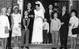 Syd & Joy and family at the wedding of son Terry, to Jan Beehre 26 April 1969.  L - R: Wendy, Dennis, Joy, Paul, Terry & Jan, Richard, John, Brett & wife Judy, with Syd at the back on Jan's left. - No known copyright restrictions.