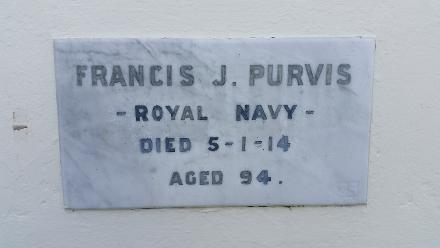 "Memorial plaque of Francis John Purvis, HMS Royal Navy. Served as crewman aboard the HMS MIRANDA NZ Wars 1863 - 1864. Operations and blockade of the Hauraki gulf, landing of troops at Whakatiwai with a combined naval patrol bombardment of Pukorokoro Pa November 1863. Francis John Purvis saw action and was wounded as part of the failed Elite assault party of the Naval brigade on Pukehinahina ""GATE PA"" 28 - 29 April 1864 Tauranga."