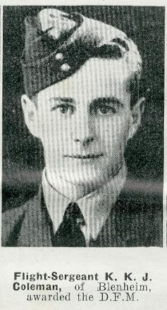 Flight Sergeant K K J Coleman DFM -  of Blenheim.