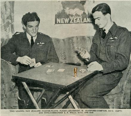 Image title from Auckland Library Heritage Collection reads:TWO LEADING NEW ZEALAND FIGHTER-PILOTS: FLIGHT-LIEUTENANT W. CRAWFORD-COMPTON, D.F.C. (LEFT) AND WING-COMMANDER E. P. WELLS, D.F.C. AND BAR