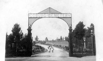 Coburg General Cemetery gates, 1908.  Re-named Pine Ridge Cemetery, mid 1990s following amalgamations of local municipalities