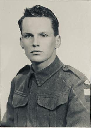 Captured in uniform before going off to war.