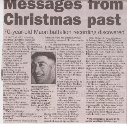 Messages from Christmas past - 70 year old Maori Battalion recording discovered