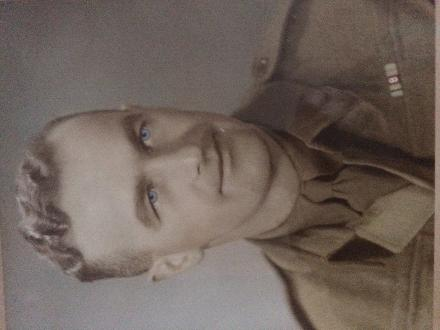 a hand coloured black and white photo after returning from WWII