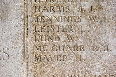 William Lund's name on a plaque at VC Corner Australian Cemetery and Memorial Fromelles France