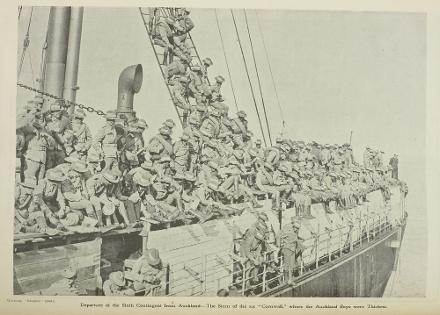 "Departure of the Sixth Contingent from Auckland—The Stern of the s,s, "" Cornwall,"""
