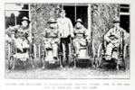 """Private Herbert Everett - far right - at Walton On Thames Hospital, England 1918 : The newspaper caption reads : """"Wounded New Zealanders at Walton on Thames Hospital, London. Five of our boys - each of whom has lost two limbs"""". - No known copyright restrictions."""