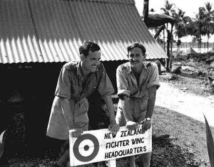 Robert Balfour (Left) & John Oldfield outside headquarters of 18th Squadron, Ondonga New Georgia 1943.