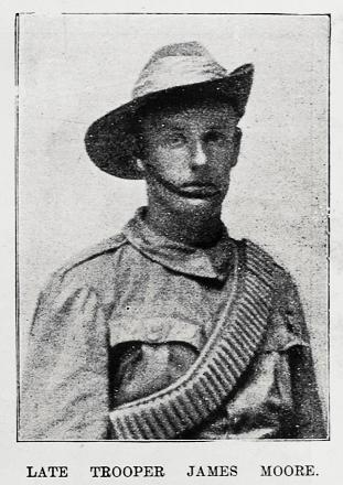 April 1901 - Showing a head and shoulders portrait of the Late Trooper James Moore of the Gisborne Section of Sixth New Zealand Contingent