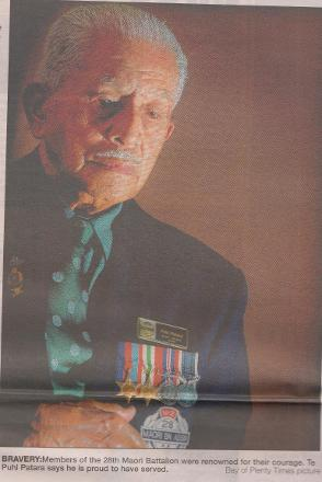 Bravery: Members of the 28th Maori Battalion were renowned for their courage.  Te Puhi Patara says he is proud to have served