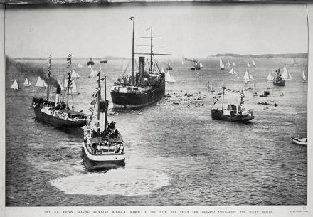 THE S.S. DEVON LEAVING AUCKLAND HARBOUR, MARCH 19. 1902. WITH THE NINTH NEW ZEALAND CONTINGENT FOR SOUTH AFRICA.