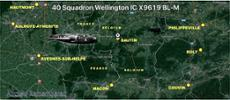 Last flight path of Wellington B Mk1c X9619 BL-M - piloted by New Zealander, and Nelsonian, Pilot Officer Ian Murray Vass Field - 12 October 1941 - over Belgium.  - All rights reserved.