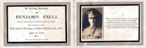 """Card Commemorating Benjamin&#39;s death on active service - Image may be subject to copyright restrictions. <a href=""""mailto:jenny.cole165@yahoo.com"""">jenny.cole165@yahoo.com</a>"""