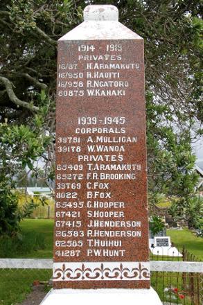 Hinerupe Marae War Memorial, Te Araroa - 65409 Pte T Aramakutu's name appears on this War Memorial