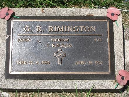 Grave of Garry Richard RIMINGTON Waikaraka Cemetery, Auckland, New Zealand Photographed 9 February 2011
