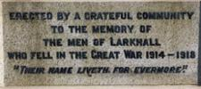 This is the dedication to the names of those listed on the Larkhall War Memorial. - No known copyright restrictions.