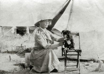 Outside her tent at Salonika Hospital No 65, probably  1918.
