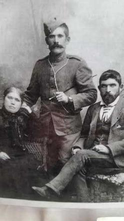 Boer War portrait. Susan Keown nee Kennedy, mother of Hugh Stewart Standing centre, and Robert Aaron Keown seated