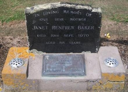 In loving memory of our dear mother, JANET RENFREW BAKER, died 19 September 1970 aged 88 years. = S.A.W, 7739 Tpr H BAKER, 9th Contgt., died 20 May 1961 aged 82 years.