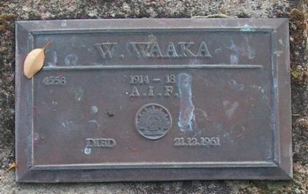 1914-18, 4558 W WAAKA, A.I.F., died 21 December 1961.
