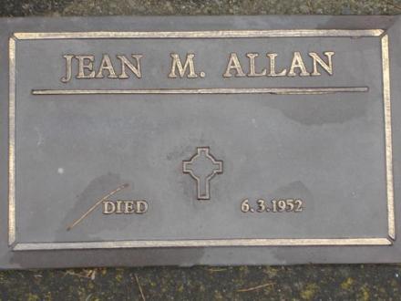 6 Mar 1952- Jean Mackie ALLAN died in Hastings aged 88yrs
