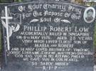 U46271 Phillip Robert (Phil) LOW (9 Platoon, 16 May 1974 - 9 May 1976), aged 23. (mva-ped). Kauae Cemetery, Ngongotaha Road, Rotorua. Block 8, Section M25, Plot 4. [-38.092135, 176.212477] - No known copyright restrictions.