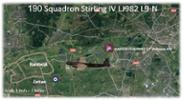 Last Flight Path of RAF 190 Squadron Stirling IV L982 L9-N - shot down 21 September 1944 - over Arnhem, Netherlands on the 1st day of the attempted allied invasion of the Netherlands - code named 'Operation Market Garden'. All air crew were killed. - All rights reserved.