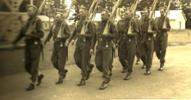 George marching at back far right 1941 - No known copyright restrictions.
