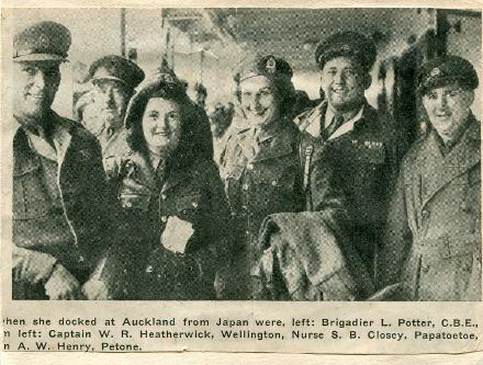 """The group in a picture in newspaper clipping """"Docked at Auckland from Japan"""" includes Shirley Closey from Papatoetoe"""