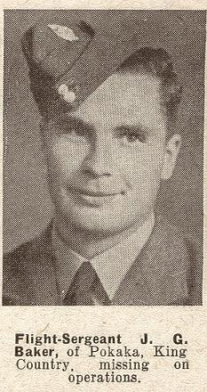 Flight Sergeant J G Baker - of Pokata, King Country.